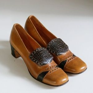60s All Leather Square Toe Vintage Heel Loafers